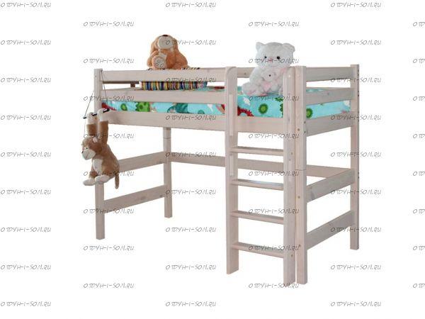 Кровать-чердак Соня5 с прямой лестницей массив