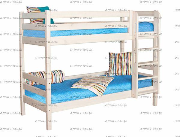 Кровать двухъярусная Соня9 с прямой лестницей массив