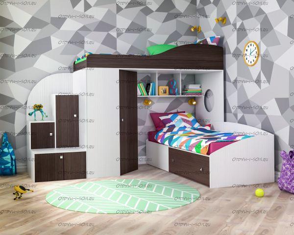 Кровать двухъярусная Кадет №2 с лестницей-тумбой