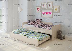 Кровать выкатная (двухъярусная) Легенда-14.2 80Х180  +  80Х180