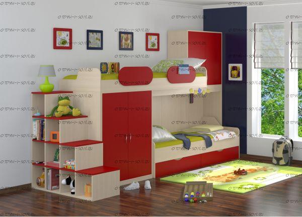Кровать двухъярусная Дельта №18.04 с лестницей